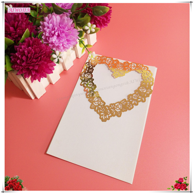 Us 60 20 Off10 Pcs Baru Kartu Undangan Pernikahandamaskus Bunga Sutra Pita Pesta Ulang Tahun Laser Surat Undangan Dengan Halaman Kosong