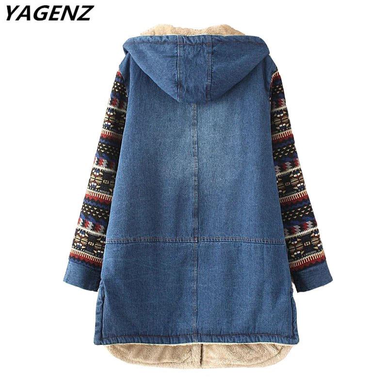 YAGENZ Neue Herbst Winter Frauen Denim Baumwolle Jacke Warme - Damenbekleidung - Foto 4