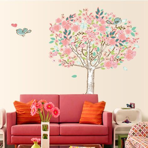 Free Shipping Pvc Cartoon Minstrelsy Love Bird Tree Wall Stickers Living Room Wall Background Romantic Home Decor DF5103