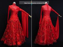 Red Ballroom Dance Dresses Standard Stage Costume Performance Womens,Smooth Ballroom Dress,Modern Waltz Tango,competition dress