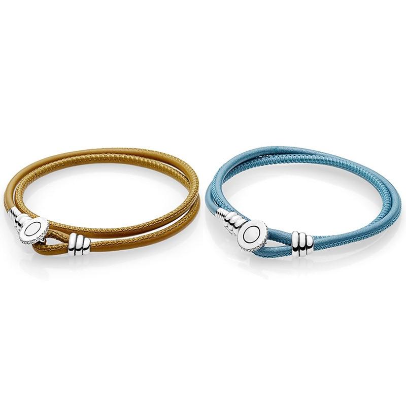 купить 2018 New 925 Sterling Silver Light Blue Brown Classic Leather Basic Bracelets For Women Diy Charms Jewelry по цене 1659.82 рублей
