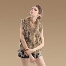 Ladies Genuine Knitted Rabbit Fur Vest Raccoon Fur Trimming Tassels Women Fur Natural Waistcoat Lady Gilet Fur Coat ZL3317