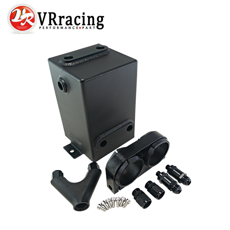 VR RACING - Black Fuel Tank 3L RAW Aluminum SURGE TANK Y Block Bracket FUEL PUMP DUAL EFI WITHOUT 044 FUEL PUMP VR-YBYH11 tansky high q external 044 dual fuel pump anodized billet aluminum fuel surge tank tk yx6012 2k044