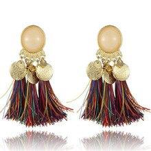ECODAY Bohemian Tassel Earrings Round Resin Statement Drop for Women Oorbellen Pendientes Brincos