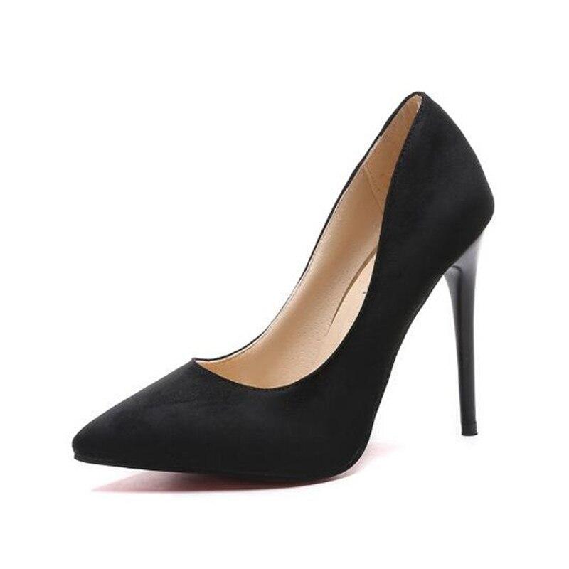 Женские туфли-лодочки из флока, красные неглубокие Свадебные вечерние туфли-лодочки с острым носком на высоком каблуке, большие размеры 44, ...