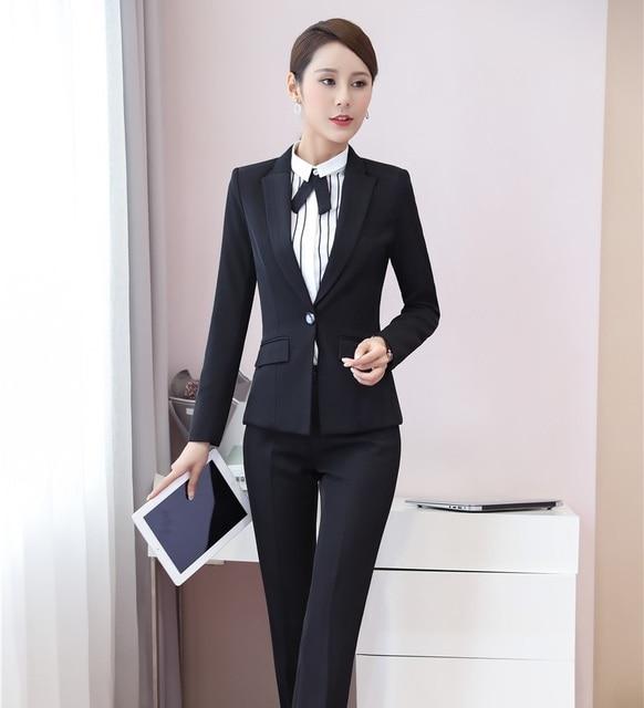 Eleganti per Donna Pant Abiti Women Work Wear Abiti Blazer Nero e Giacca  Imposta Stili Uniformi fa1d7c4900f