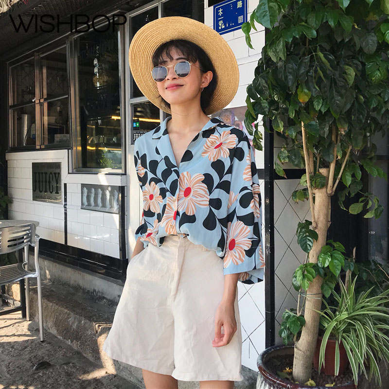 Loose Fit Pic Womens collar Summer As Sleeves Floral New 2018 Wishbop Shirt 3 Top Flower Notched Print Crop Ladies Blouse 4 Beach T1Iaq