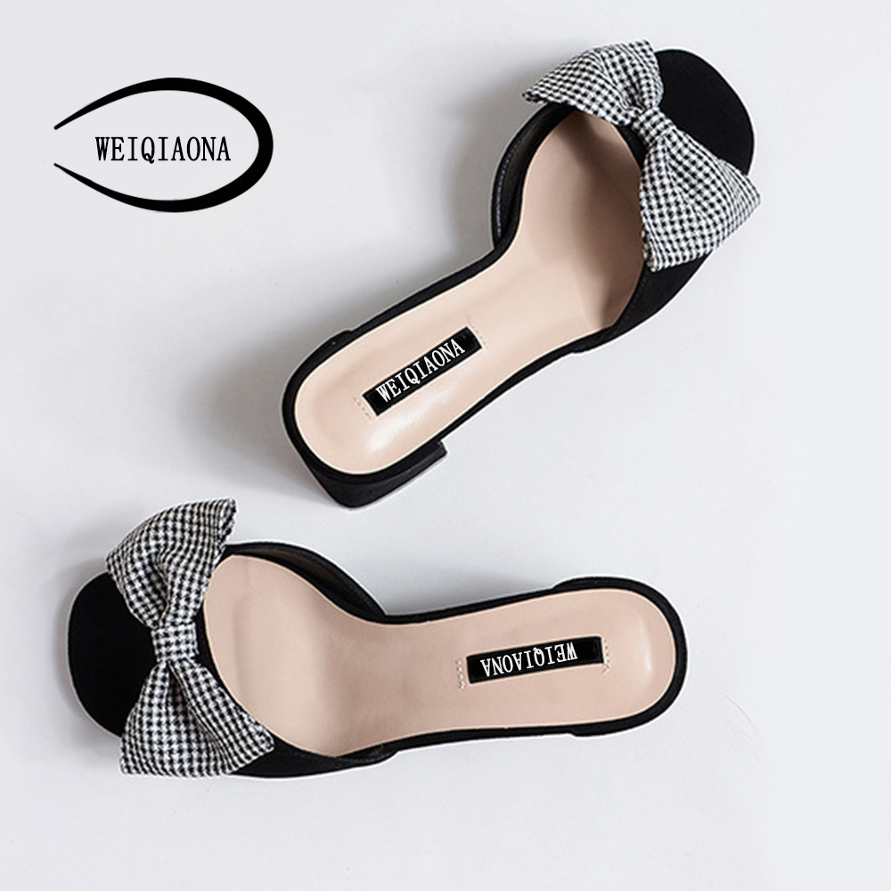 WEIQIAONA Shoes Heels Bow Women Party 2018 Dress Open Toe Women Summer  Chunky Casual Big Shoes Sweet High New Sandals Slipper HqHRr 0d98642f3936