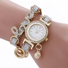 Rhinestone watches bracelet watch women wrist watches Hot sale fashion luxury bead pendant women Wristwatches Relogio Feminino стоимость