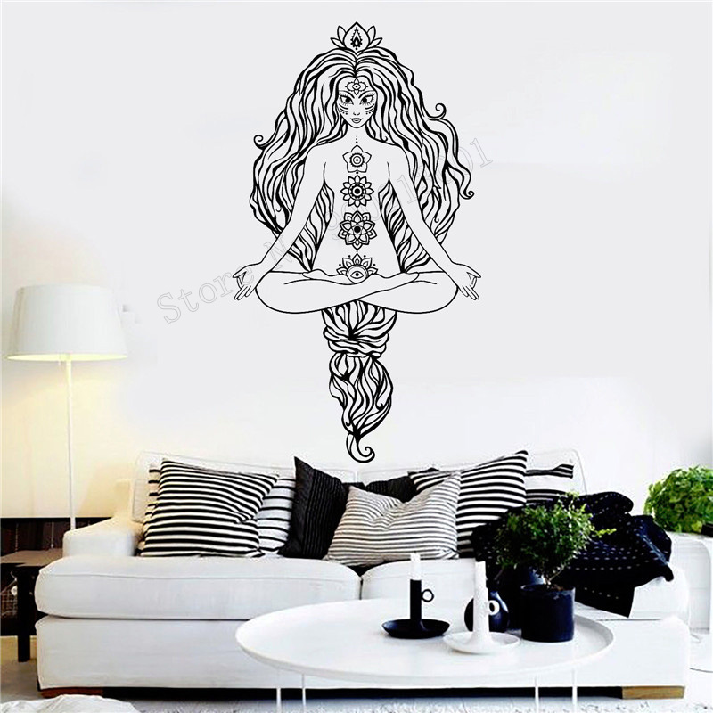 3be158a2285 Art Wall Sticker Yoga Wall Decoration Vinyl Art Removeable Poster Mural  Meditation Hinduism Sticker Beuty Ornament LY228
