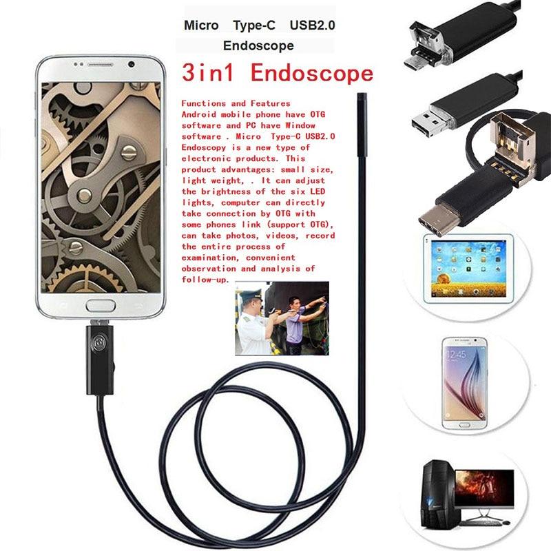 Giantree 2M 5.5mm Type C Endoscope USB Android OTG MircoUSB Type C Borescope Camera Snake Pipe Inspection Camera For Huawei LG