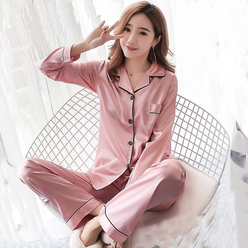Long Sleeve Silk   Pajamas   Women Autumn   Pajama     Sets   Silk Satin Pijama Sleepwear pink solid Pyjamas Plus Size 3XL 4XL 5XL Nightwear