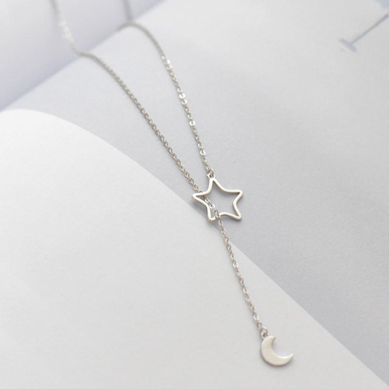 Корейский Новый серебряный цвет Луна Звезда ожерелья для женщин модная Длинная цепочка, чокер массивные Ювелирные изделия Подарки воротник
