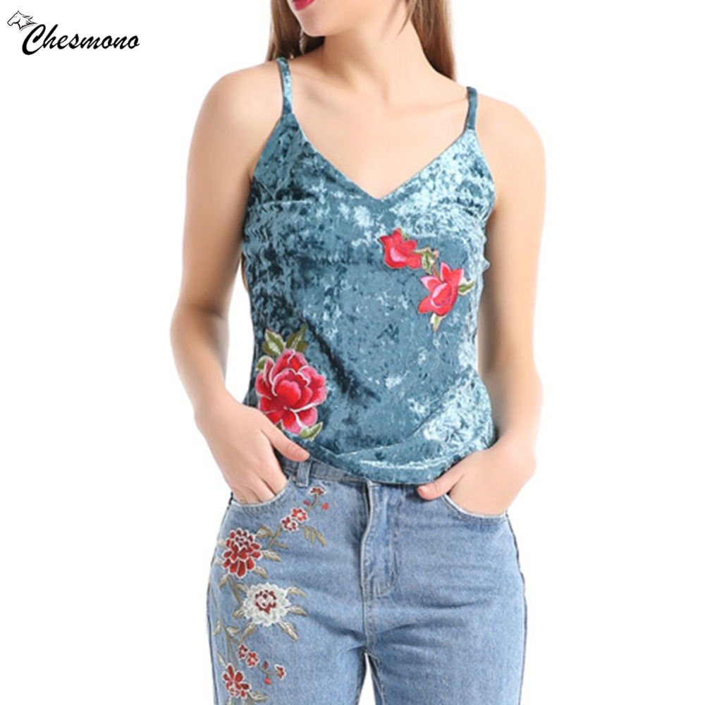 Embroidered Flower Applique Velvet Sexy Spaghetti Top Women 2018 Clothing Tee Sleeveless ...
