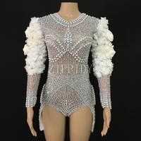 White Flower Flashing Rhinestones Pearls Bodysuit Birthday Celebrate Outfit DJ DS Bar Female Singer Show Wear Stretch Clothes