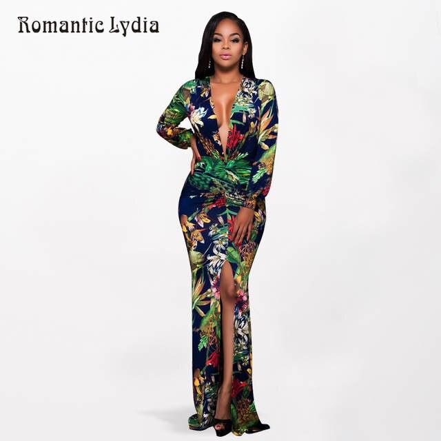 2018 mujeres Tropical de verano vestido largo vestido Split Sexy cuello V  profunda piso longitud Maxi 4211f9c901cf