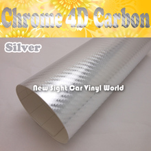 High Quality Silver Chrome 4D Sticker For Laptop Vehicle Air Bubble Free Size: 1.52*30M/Roll