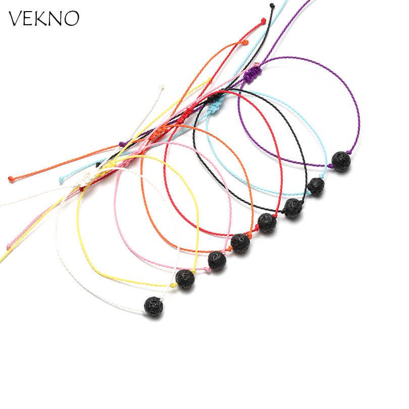 VEKNO 8 ミリメートル溶岩石距離ブレスレットファム手作り調節可能な文字列のブレスレットの男性の女性の子供友情カップルのギフト