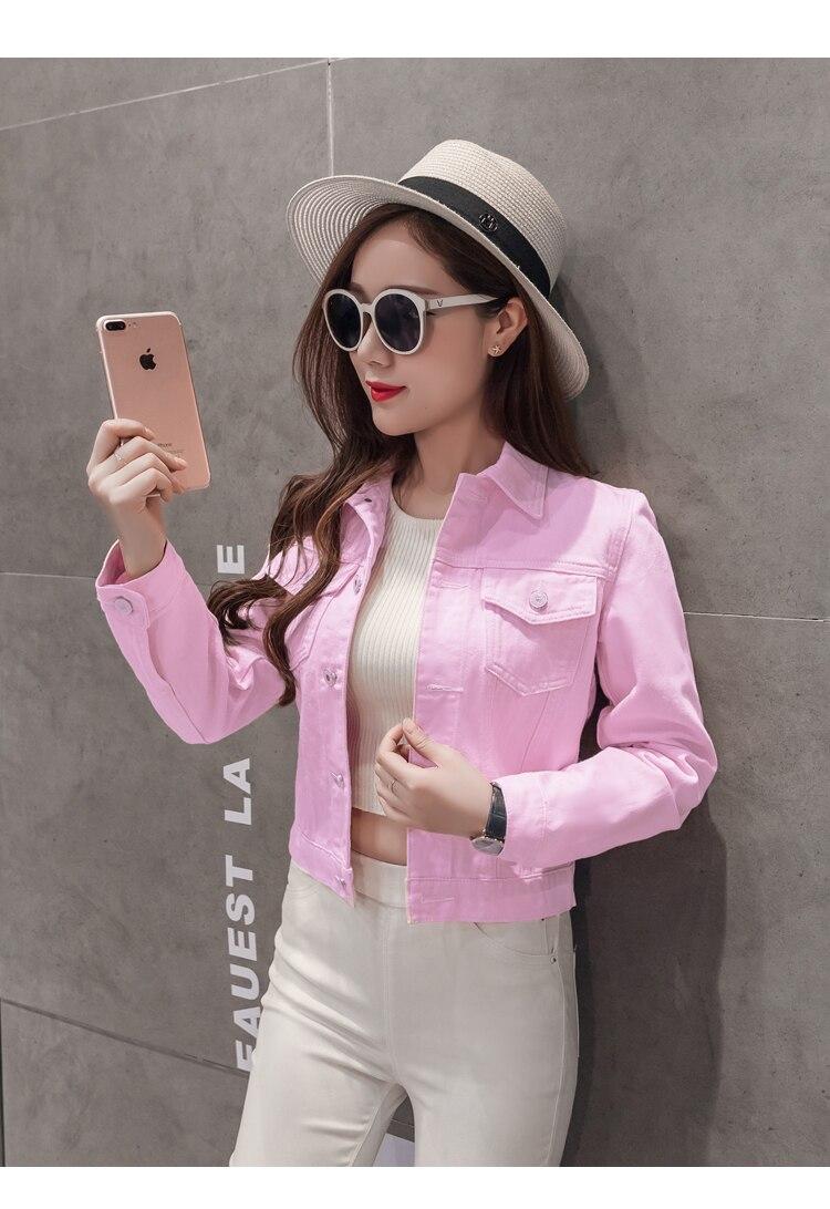 Spring Autumn Women Clothing Cowboy Coat Loose Long Sleeve Short Female Denim Jacket White Black Blue Pink Bomber Jacket Coats