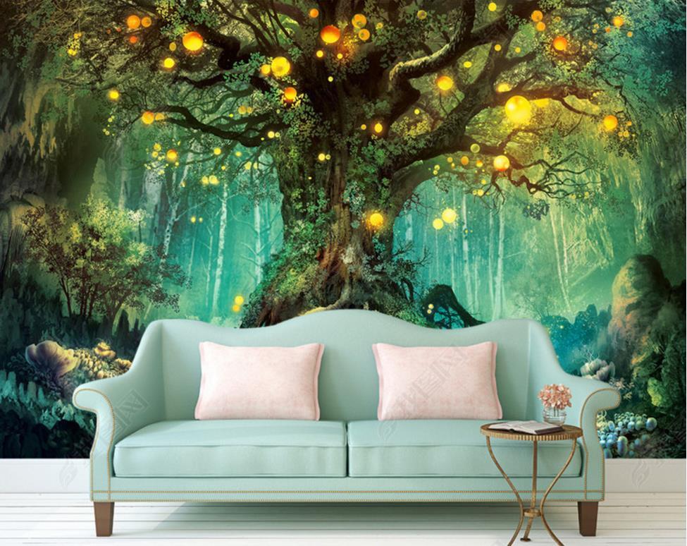 Fototapete 3D Schlafzimmer | Benutzerdefinierte Vlies 3d Wandbild Tapete Wald Wohnzimmer