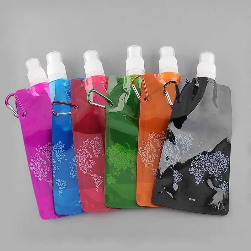 여름 뜨거운 물 병 야외 스포츠 여행 하이킹에 대 한 carabiner와 환경 친화적 인 휴대용 foldable 재사용 가능한 480 ml