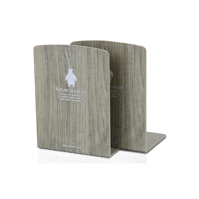 цена на Paperboat 2 Pcs/Lot Korean Stationery Wood Pattern Bookshelf Plastic Bookend Desk Book Organizer Holders Bookends Office Supply