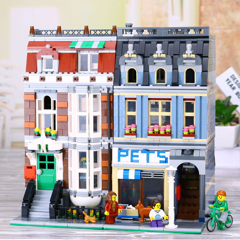 DHL LEPIN 15009 Pet Shop Supermarket Model City Street Building Blocks Compatible with legoed 10218 Toys lepin 15009 city street pet shop model building kid blocks bricks assembling toys compatible 10218 educational toy funny gift