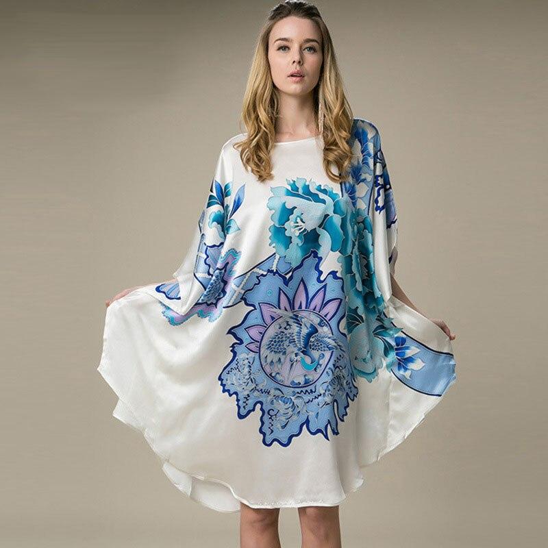 100% Silk Satin Dress Women Silk Dresses Natural Silk Free Size Handmade Painted Dress Blue Flower Pattern Free Shipping silk