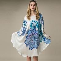 100% Silk Satin Dress Women Silk Dresses Natural Silk Free Size Handmade Painted Dress Blue Flower Pattern Free Shipping