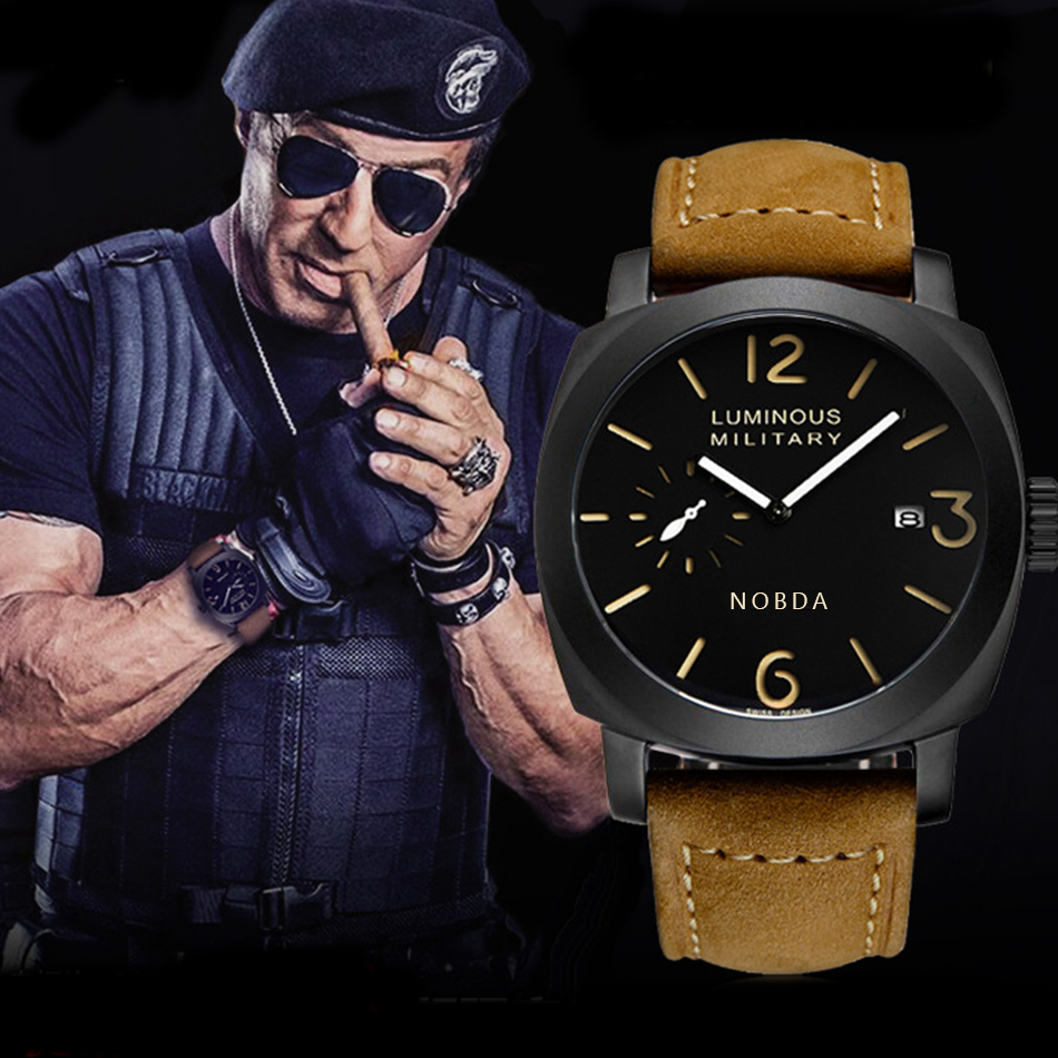 Top Brand Luxury Leather Strap Men Watches Sports Brown Army Military Quartz Watch Men Wrist Watch Clock saat relogio masculino benyar luxury top brand men watches sports military army quartz wrist watch male chronograph clock relogio masculino gift box