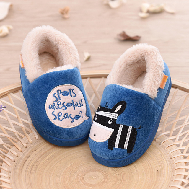 kids winter slippers cute cartoon cotton household shoes for boys girls slip resistant plush thicken warm children shoes