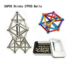 27PCS Balls 36PCS Color Magnetic Sticks  Puzzle Toy Buckyballs Metal Bars Constructor Blocks Toys for Building Models