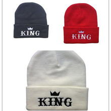 2016 Rushed New Cotton Acrylic Adult Unisex Casual Letter Beenie King Crown Warm Embroidered Knitted Hats Female Winter Hat