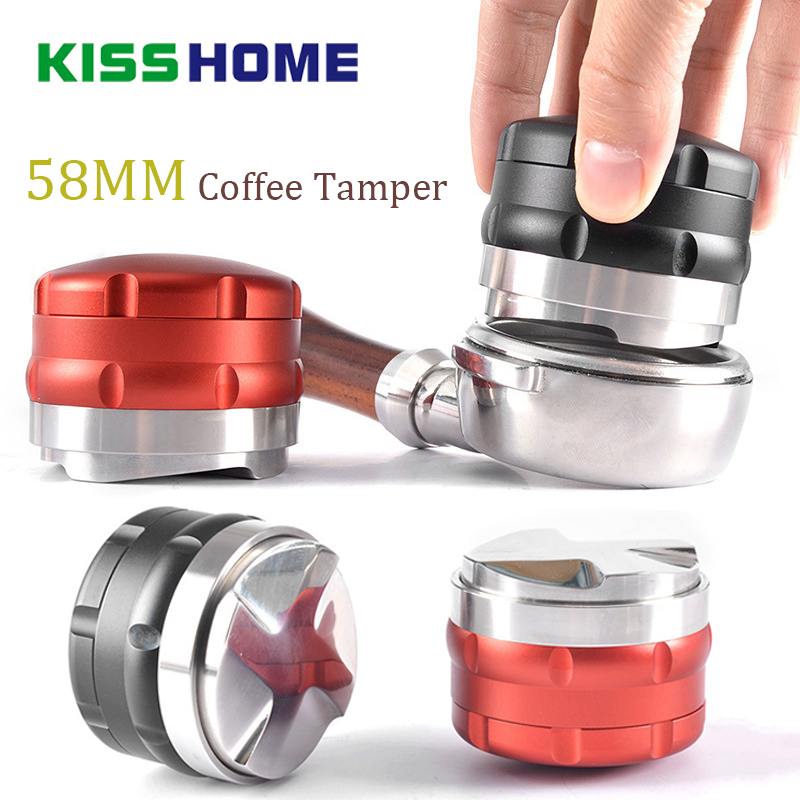 Stainless Steel Intelligent Coffee Tamper 58mm Four Angled Slopes Base Double-layers Adjustable Powder Hammer Distribution Tools