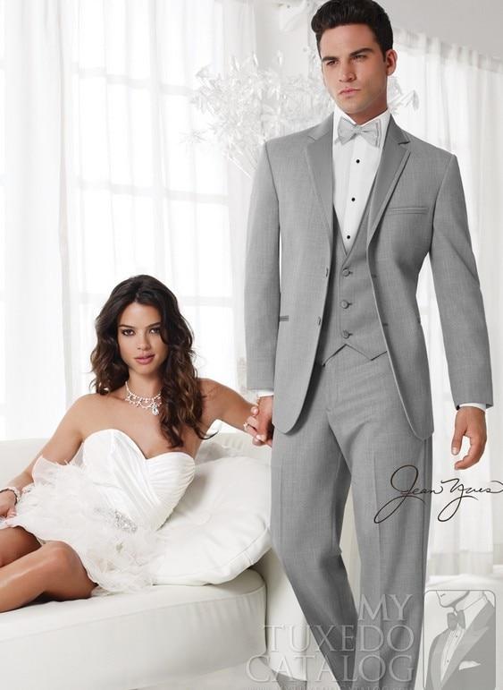 Jacket+Pant+Tie+Vest)italian New Style Light Grey Western Wedding Groom Tuxedo Man For Suit Groomsmen Dress Prom Party Men Suit