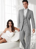Jas + broek + tie + vest) italiaanse nieuwe stijl licht grijs westerse bruiloft bruidegom smoking man voor pak bruidsjonkers jurk prom party mannen suit
