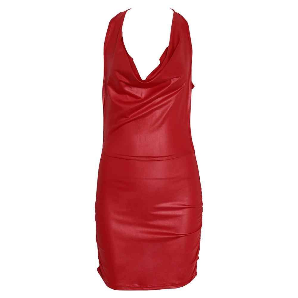 Feminino sexy preto e vermelho molhado olhar sem costas bandagem falso couro bodycon vestido
