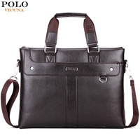 VICUNA POLO Simple Solid Color Mens Handbags For Laptop Perfect Quality Leather Briefcase Men Hot Sell