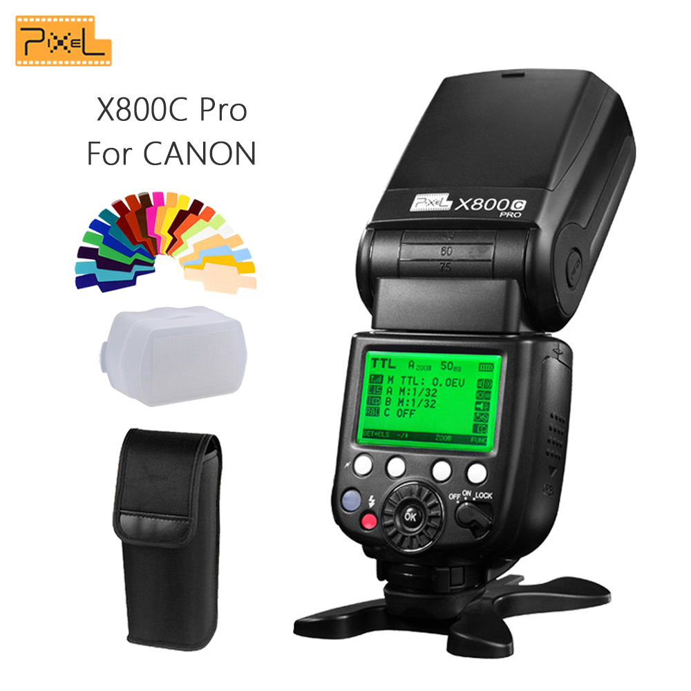 Pixel X800C PRO Speedlite E-TTL FSK 2,4 GHz Trådlös HSS High Speed ​​Sync Flash Speedlight för Canon DSLR-kameror Vs YN600EX-RT II