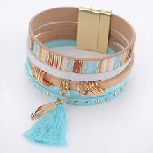 HOCOLE Natural Crystal Bracelet Luxury Tassel exclusive Design genuine leather statement bangles for women magic closure jewelry