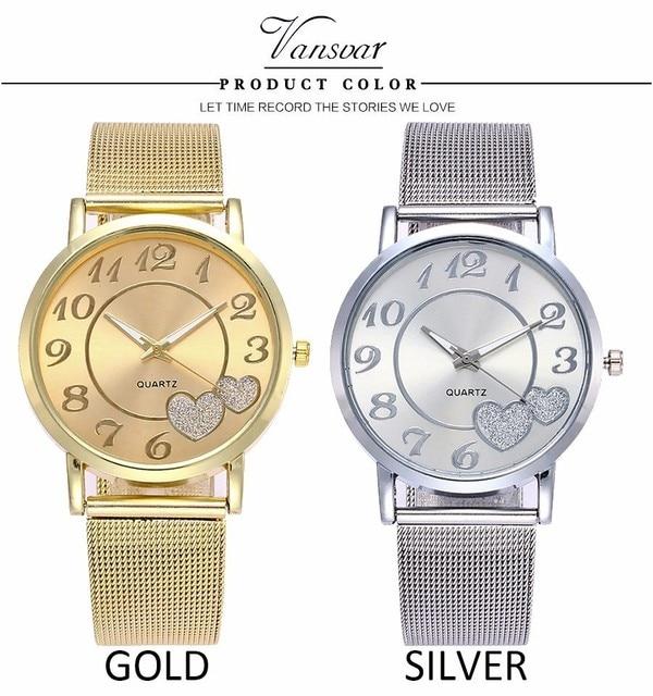 Dropshipping Women Silver & Gold Mesh Love Heart Dial Wristwatches Fashion Casual Women's Steel Quartz Watches Relogio Feminino  4