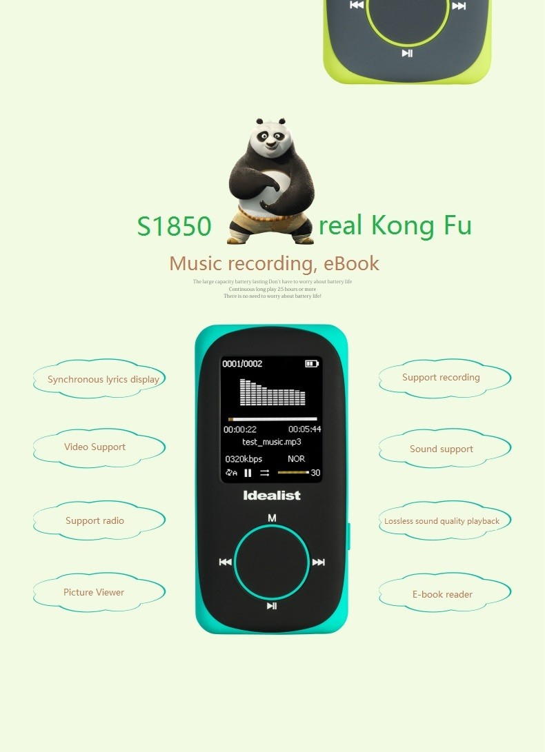 """Idealist Sport HIFI Running MP3 Player 1.8"""" Lossless MP4 Player Support Picture Recording Video TF With Earphone Armband Speaker 15"""