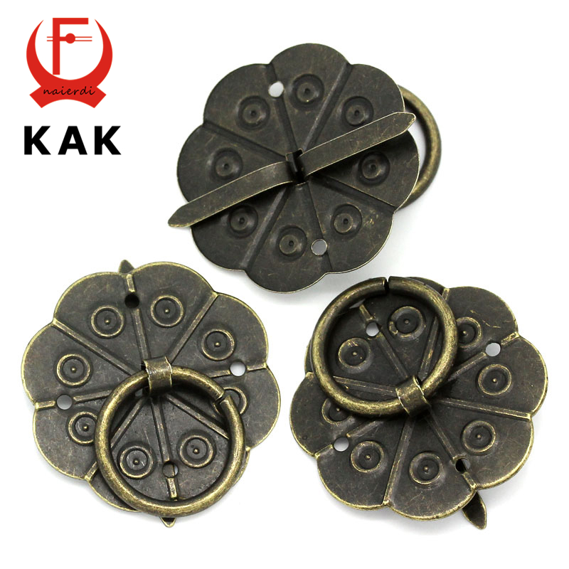 KAK 30pcs Classical Bronze Tone Quincunx Drawer Cabinet Desk Door Pull Box Handle Knobs Furniture Handles Hardware With Screws css clear crystal glass cabinet drawer door knobs handles 30mm