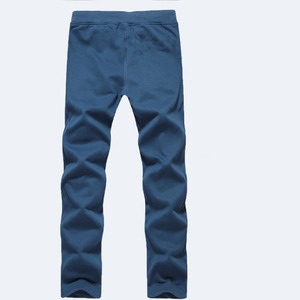 Image 3 - Men pants 2020 autumn and spring casual loose plus size straight knitted cotton male long trousers black blue gray