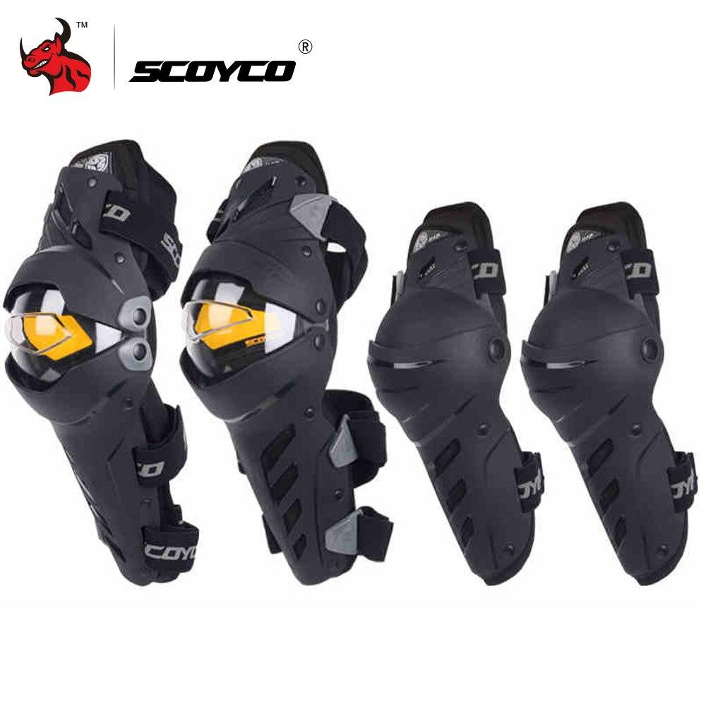 SCOYCO Motocicleta Joelho Cotovelo Combinação Joelheira Para Homens Esporte de Proteção Motocross Guarda Engrenagem Protetor Motocicleta joelheiras