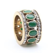 Anillos de dedo Vintage turco para mujer, anillo redondo ovalado de resina de cristal Caesar, anillo antiguo de Color dorado étnico para hombre, joyería de boda, anillo de corona
