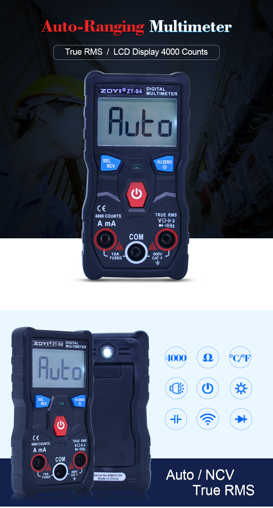 CAMWAY Digital Multimeter 4000 Count TRMS Auto Range Multimeter AC//DC Voltage//Current Resistance Diode Continuity LCD Display with Backlight /& 10PCS Test Lead Set with Alligator Clips