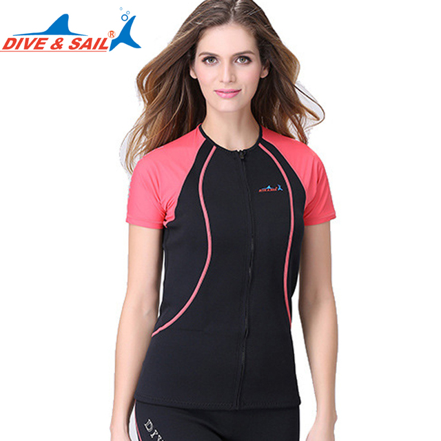 9e1adeeb1e Dive sail 1.5MM lycra neoprene women wetsuit zipper Swimming Swimsuit For girls  surf rashguard short sleeve