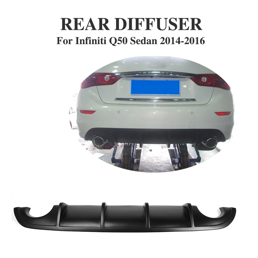 Car-Styling PU Black Primer Auto Bumper Lip Diffuser for Infiniti Q50 Sedan/Sport Sedan 2014-2017