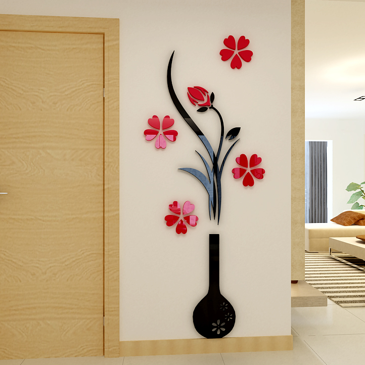 Vase Plum flower Crystal arcylic wall stickers 3d Three-dimensional Living room sticker Bedroom TV Entrance Decorative - Zeng yong Wall Store store